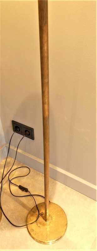 Vintage lampen van brons met gele glazen bol-3
