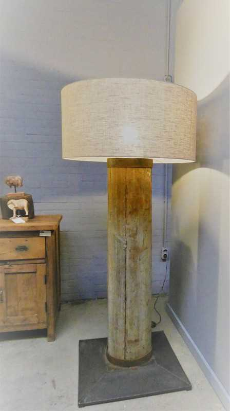 Standing table lamp with greyed wooden leg and gray shade-1