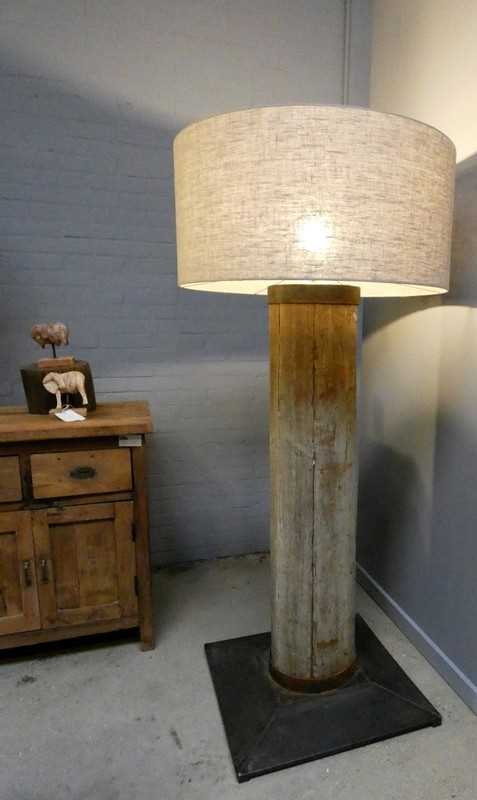 Standing table lamp with greyed wooden leg and gray shade-2
