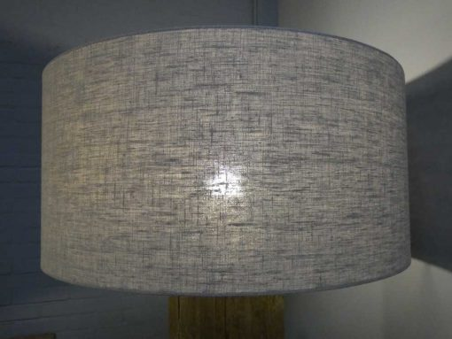 Standing table lamp with greyed wooden leg and gray shade-4