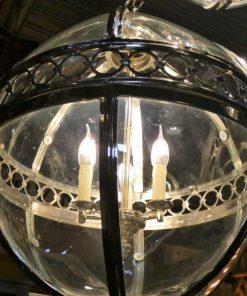 Ronde hanglamp van vernikkeld brons met glas-2