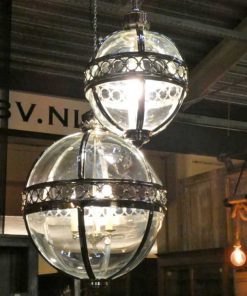 Round hanging lamp made of nickel-plated bronze with glass-3