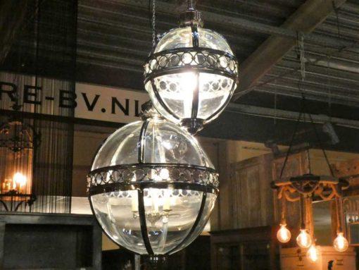Ronde hanglamp van vernikkeld brons met glas-3