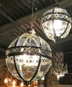 Round hanging lamp made of nickel-plated bronze with glass-4