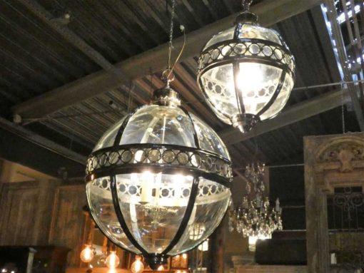 Ronde hanglamp van vernikkeld brons met glas-4