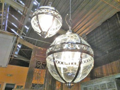 Round hanging lamp made of nickel-plated bronze with glass-5