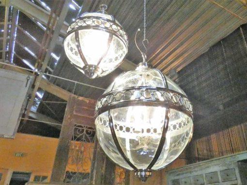 Ronde hanglamp van vernikkeld brons met glas-5