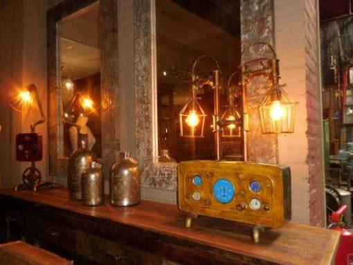 Unieke industriele lamp gemaakt van oude onderdelen-3