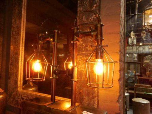Unieke industriele lamp gemaakt van oude onderdelen-4