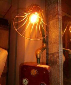Unique industrial lamp made from old parts-3