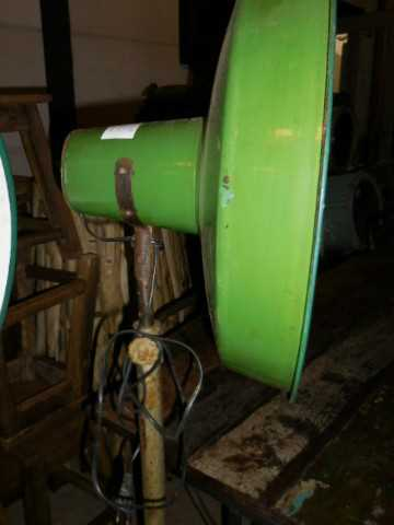 Vintage industrial enamel green lamp on stand-1