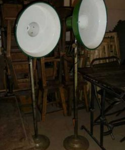 Vintage industrial enamel green lamp on stand-2