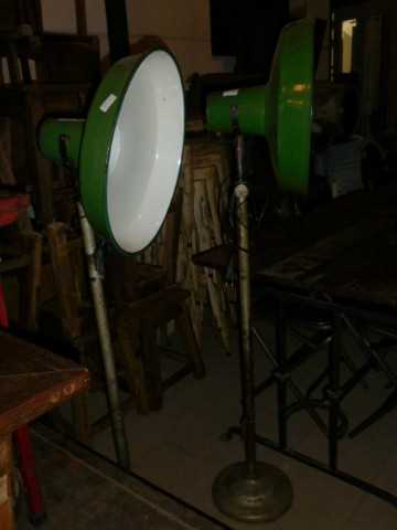 Vintage industrial enamel green lamp on stand-3