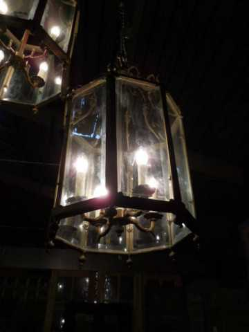 Large 6-sided bronze lantern / hanging lamp-3