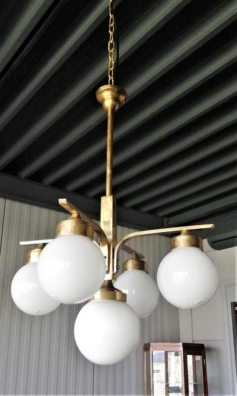 Antique Art Deco hanging lamp with frosted glass balls-2