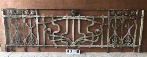 Antique Wrought iron Art Nouveau Fence-1