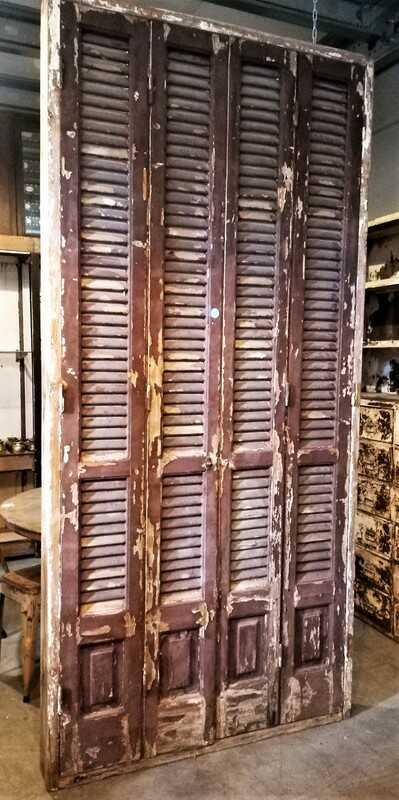 Antique Louvre Shutters / Doors In Frames-1
