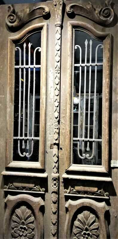 Antique Outside Door With Wrought Iron Ornamental Fence-2