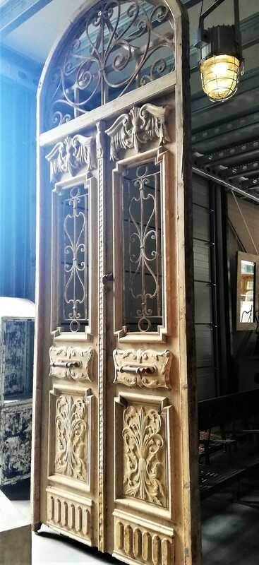 Antique French Style Outside Door With Wrought Iron Decorative Fence-1