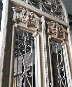 Antique French Style Outside Door With Wrought Iron Decorative Fence-4
