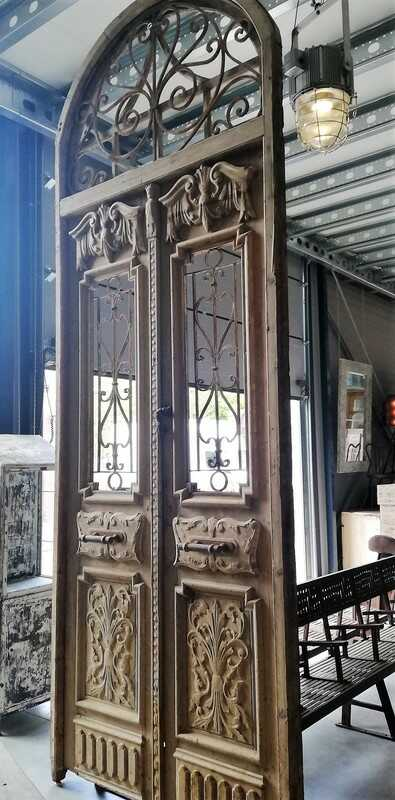 Antique French Style Outside Door With Wrought Iron Decorative Fence-5