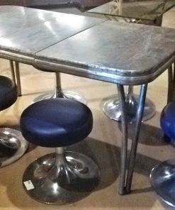Vintage Blue Metal Stools - 1