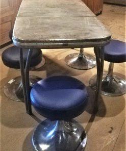 Vintage Blue Metal Stools - 2