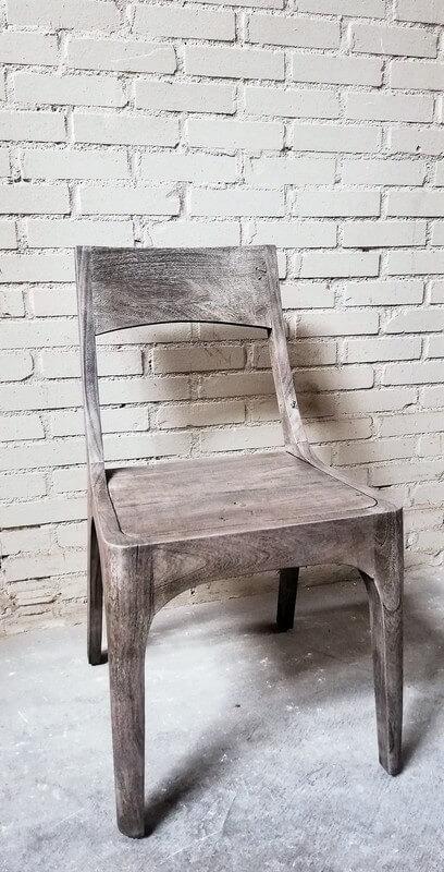 Sandblasted Grey Acacia Wood Chair - 1