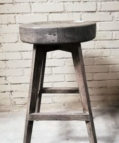Sandblasted Grey Acacia Bar Stool - 1