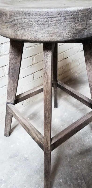Sandblasted Grey Acacia Bar Stool - 2