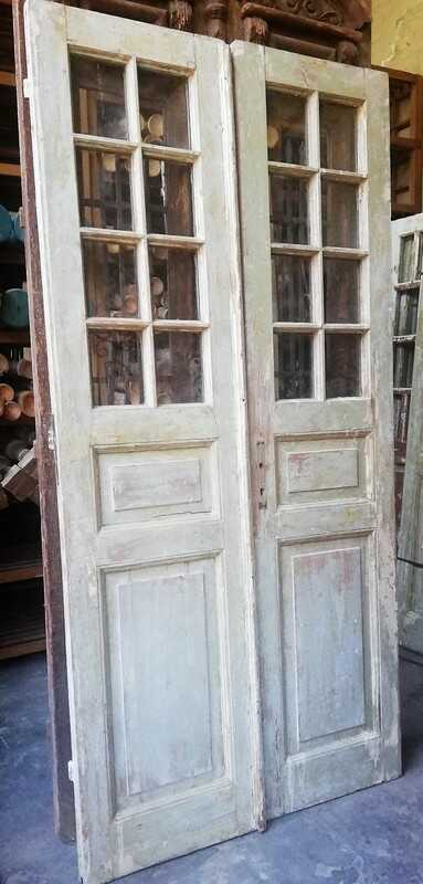 Antique Double Doors With Square Windows - 1
