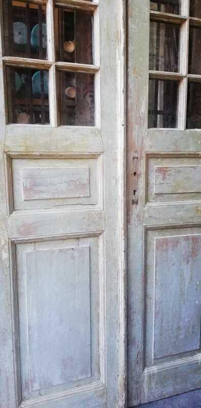Antique Double Doors With Square Windows - 2