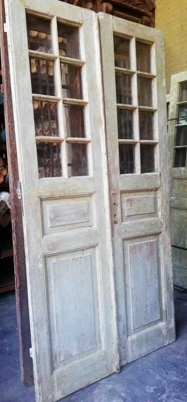 Antique Double Doors With Square Windows - 3