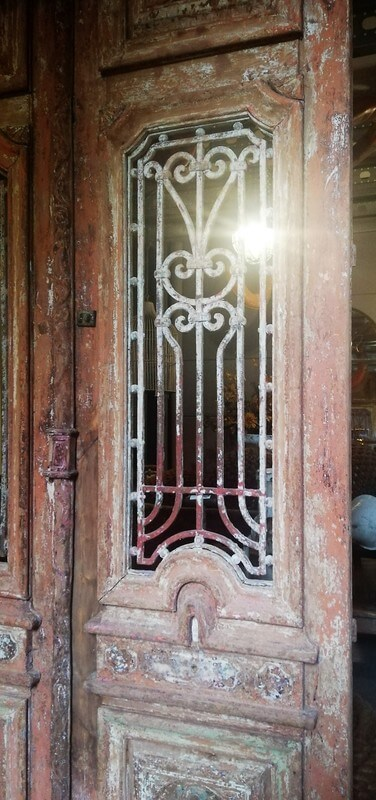 Antique Door With Wrought Iron Fence - 2
