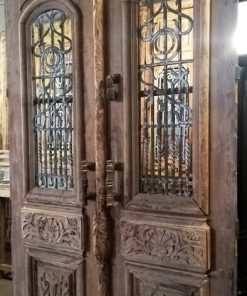 Antique Exterior Door With Wrought Iron Fence - 1