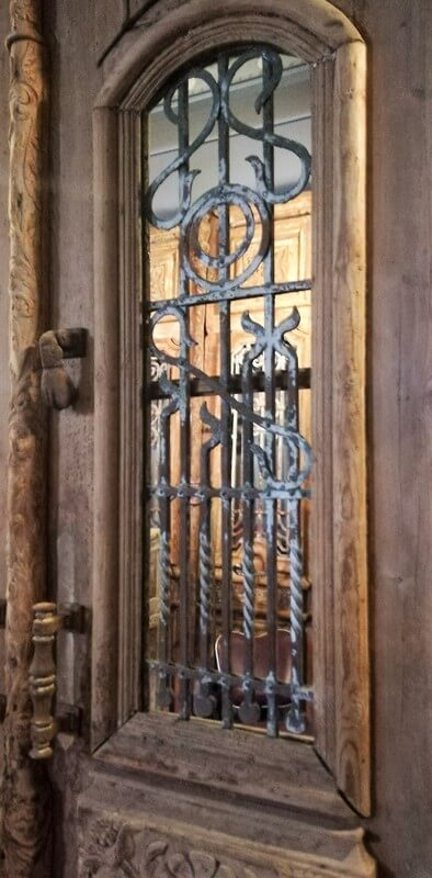 Antique Exterior Door With Wrought Iron Fence - 2