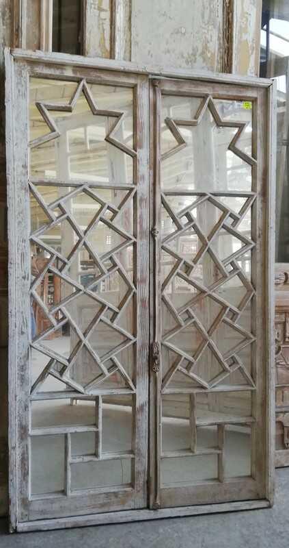 Antiek Raamkozijn Met Spiegels Hxb 187x112