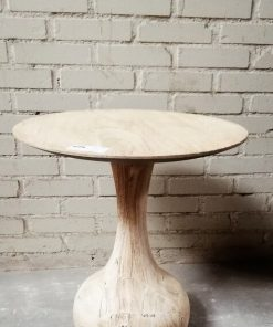 Round Acacia Wooden Salon / Side table - 1