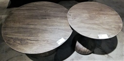 Round Grey Wooden Salon / Side table - 2
