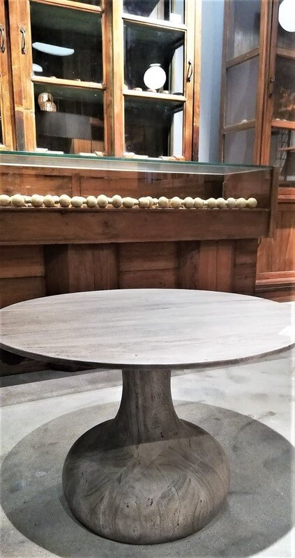 Round Grey Wooden Salon / Side table - 4