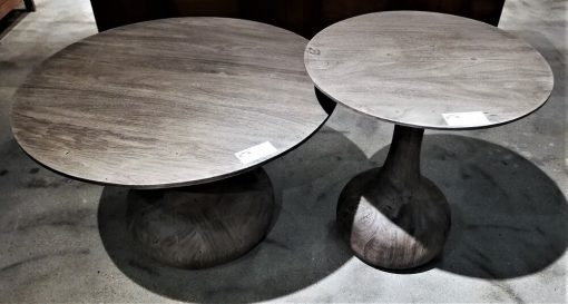Round Grey Wooden Salon / Side table - 5