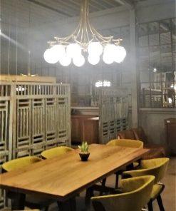Antieke Lamp Van Brons Met Glas Met 12 Lichtpunten - 1