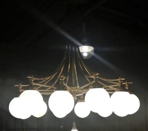 Antieke Lamp Van Brons Met Glas Met 12 Lichtpunten - 2