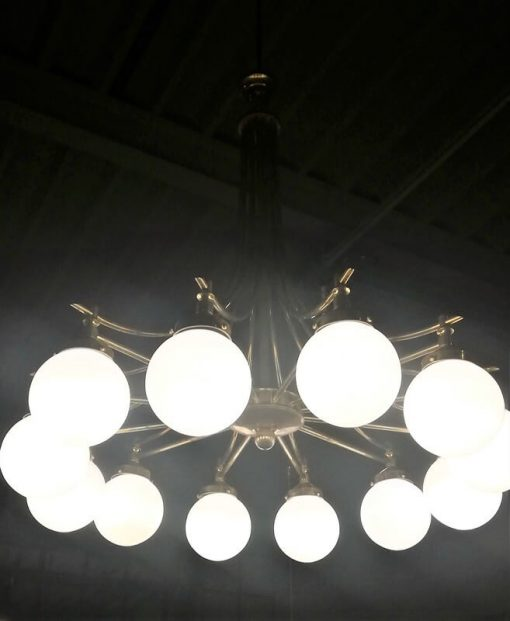Antieke Lamp Van Brons Met Glas Met 12 Lichtpunten - 3