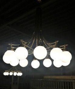 Antieke Lamp Van Brons Met Glas Met 12 Lichtpunten - 4