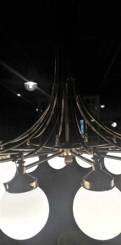 Antieke Lamp Van Brons Met Glas Met 12 Lichtpunten - 5