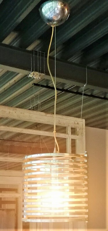 Vintage Hanging Metal With Glass Lamp - 2