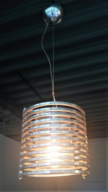 Vintage Hanging Metal With Glass Lamp - 3