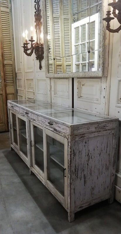 Antique White Low Display Case Cupboard / Counter-1
