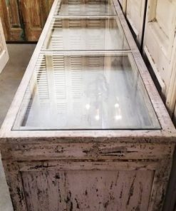 Antique White Low Display Case Cupboard / Counter-2
